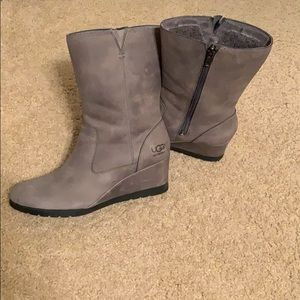 UGG Joely Waterproof Mid calf wedge boots - grey